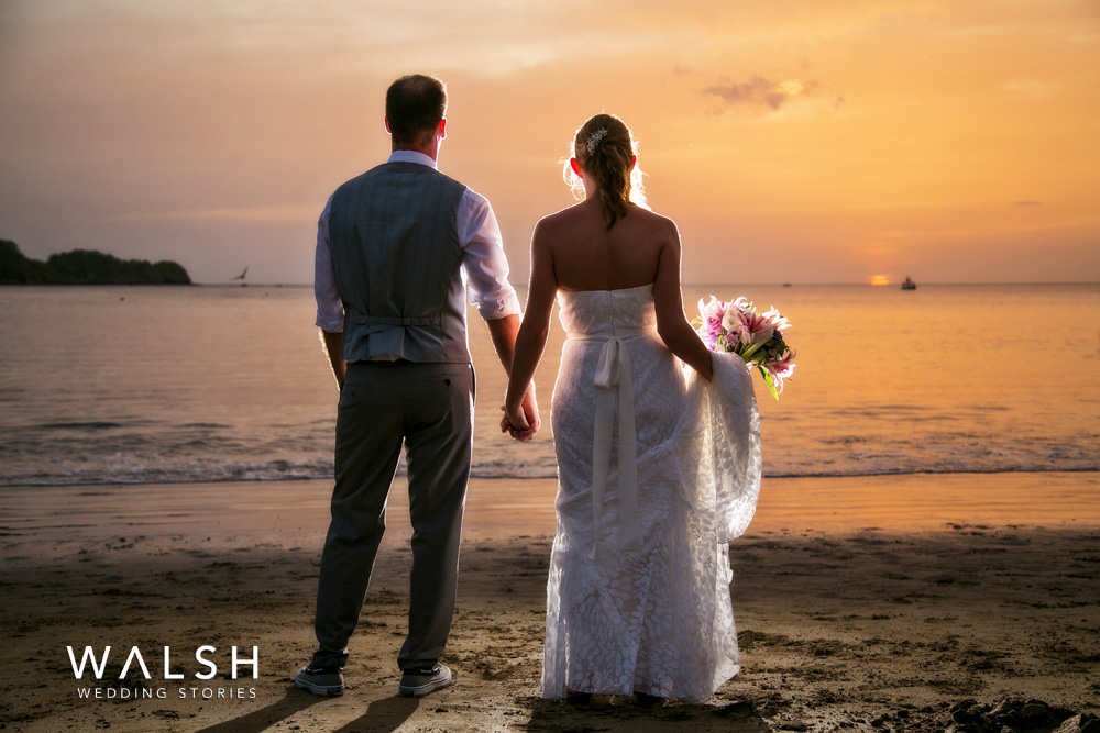 sunset wedding in costa rica beach- dreams las mareas wedding photographer