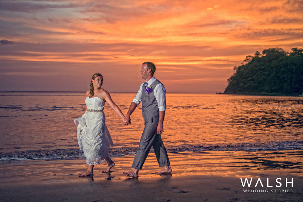 bride and groom sunset photos in costa rica- dreams las mareas resort wedding photographers