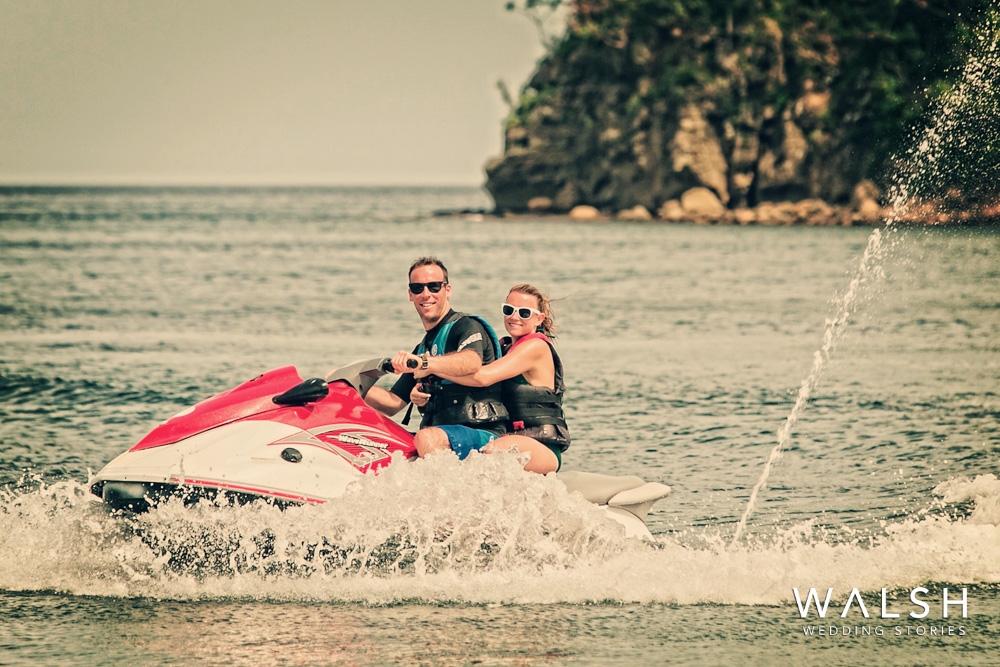 engagement photos at dreams las mareas resort in costa rica- bride and groom on waverunner