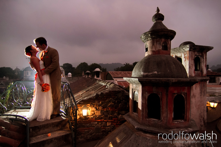 Rooftop Wedding Photos At Sunset In Meson Panza Verde