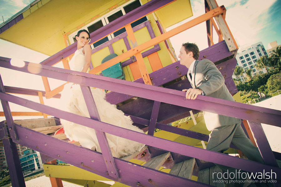 Bride and groom portraits at The Palms Hotel Miami Beach