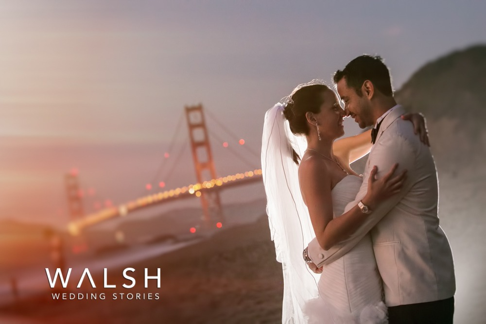 San Francisco Wedding Photographers - bride and groom at sunset with golden gate bridge