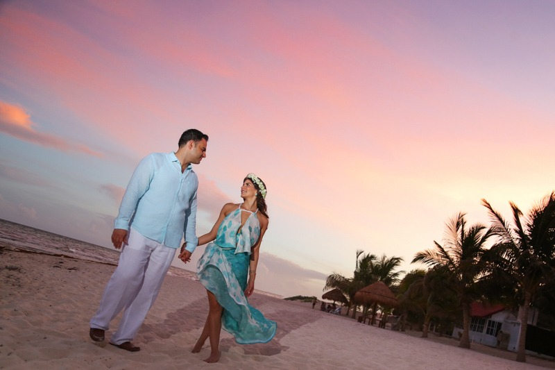 A (106) Save the date beach photo session at sunset in Playa del Carmen Mexico- Playa del Carmen wedding photographers