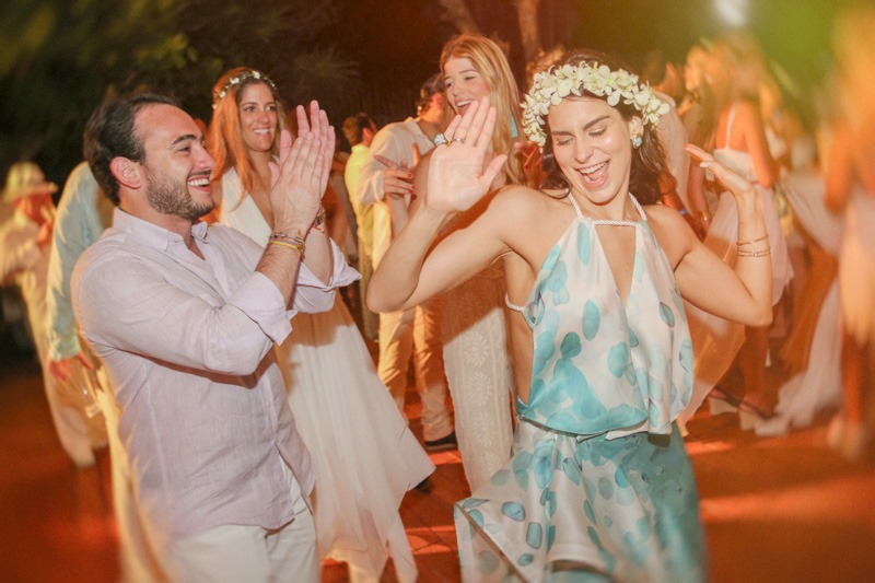 A (111) dancing at beach party at Azul Fives - Mexican Riviera wedding photographers