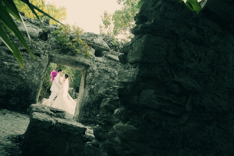 A (207) Bride and groom in Xcaret Park Mayan ruins- Xcaret wedding photographers