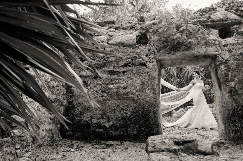 A (208) Mayan ruins wedding photo session in Xcaret Park, Mexico-Mexican wedding photographers