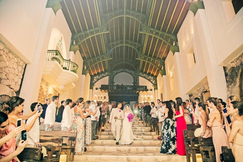 A (216) Bride and father walking down the aisle at Guadalupe church Xcaret- wedding photographers in Cancun
