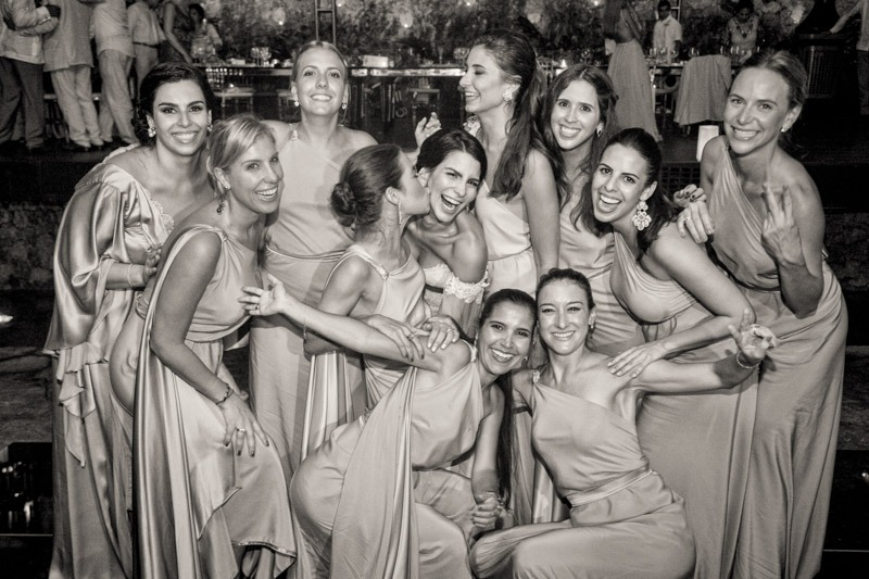 A (223) Bride and bridesmaids at La Isla Restaurant in Xcaret- Cancun wedding photographers