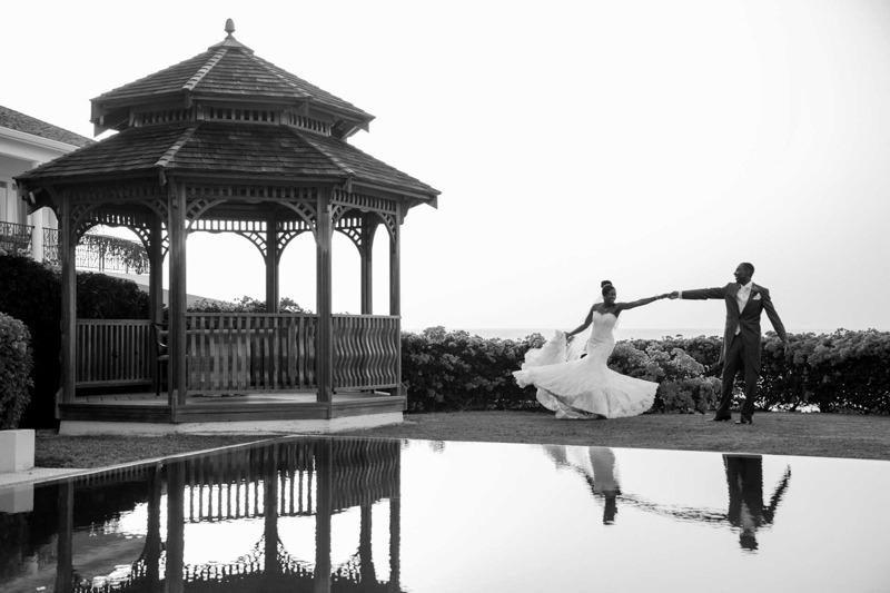 Bride and groom reflected on a pool at  Caribbean Island wedding - Blue Waters Resort Antigua and Barbuda wedding photographers