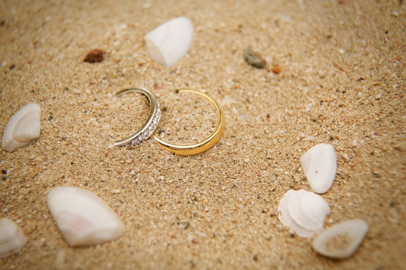 DC-1001 Wedding rings in sand- Caribbean beach wedding photographer