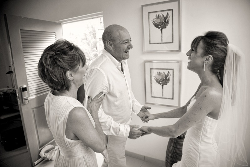 DC-1019 Mother and father of the bride when first seeing their daughter dressed in her wedding gown- Carlisle Bay wedding photographers