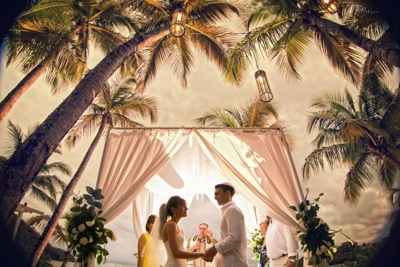 DC-1035W jewish wedding under the huppah or chuppah at the beach with palm trees - Caribbean beach wedding photographers