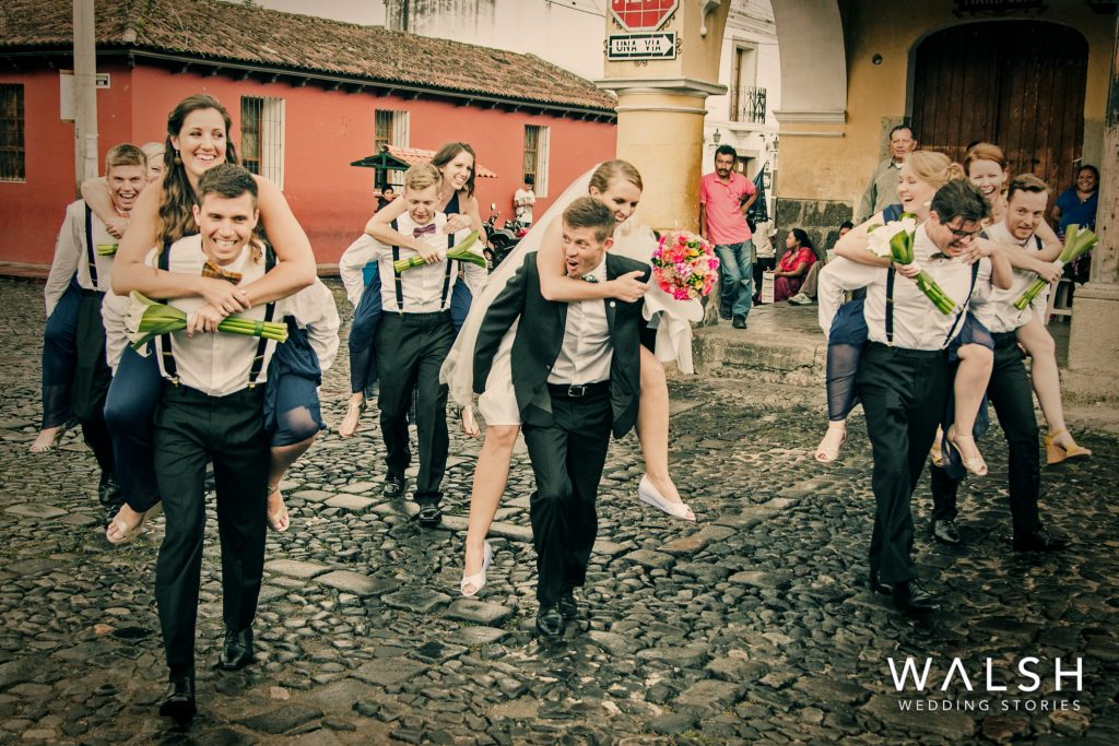 antigua guatemala wedding photographers-bridal party in the streets of antigua