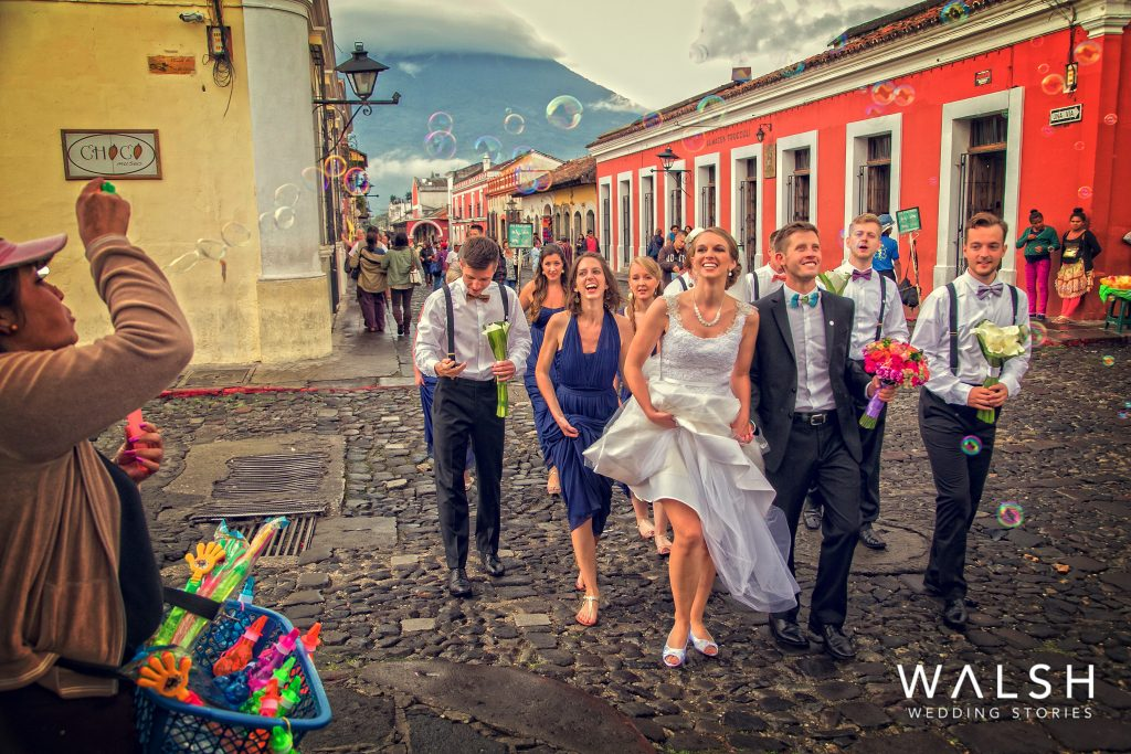 antigua guatemala wedding photographers-bride and groom in the streets of antigua