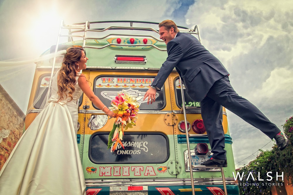 chicken bus wedding photos antigua guatemala