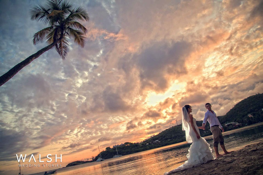 sunset photo session of bride and groom