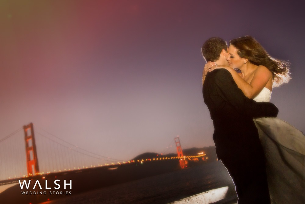 sunset wedding photos in Crissy Fields San Francisco